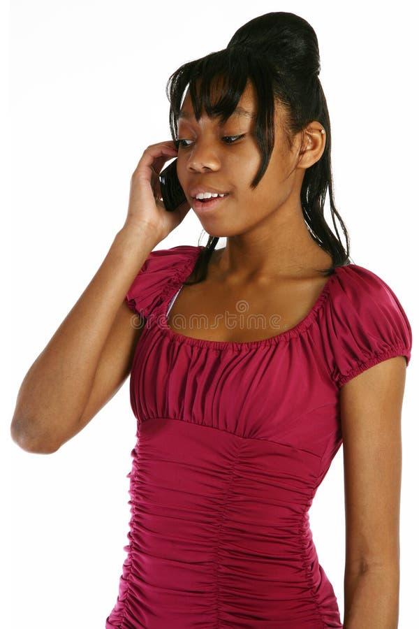 移动电话女孩 库存图片