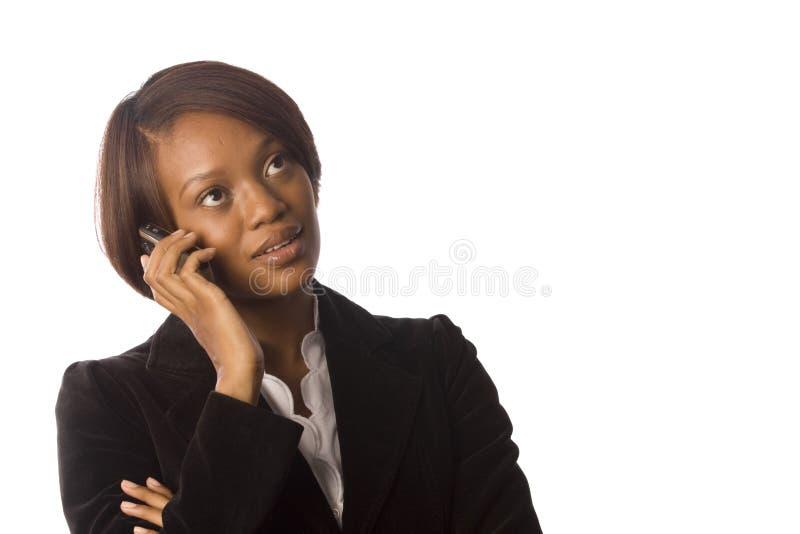移动电话她的妇女 免版税图库摄影
