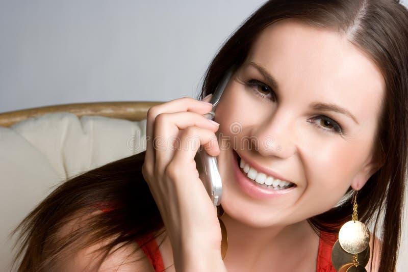 移动电话妇女 免版税库存图片