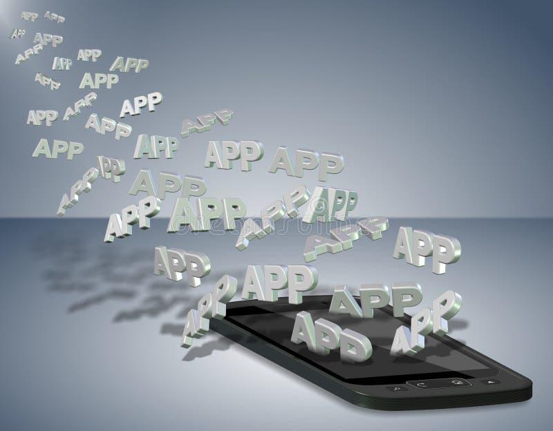 移动电话apps 皇族释放例证