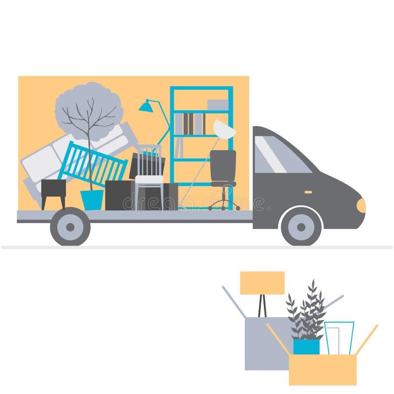 移动的卡车和纸板箱 拆迁 向量Illustratio 向量例证