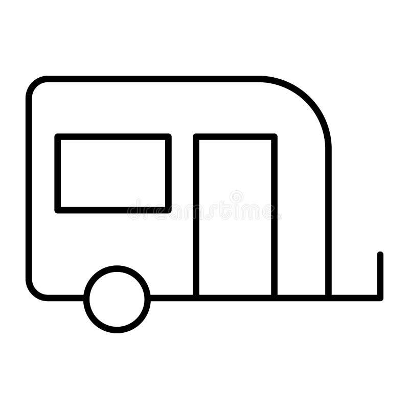 移动的房子稀薄的线象 在白色隔绝的野营的拖车标志传染媒介例证 轮子概述样式的议院 皇族释放例证