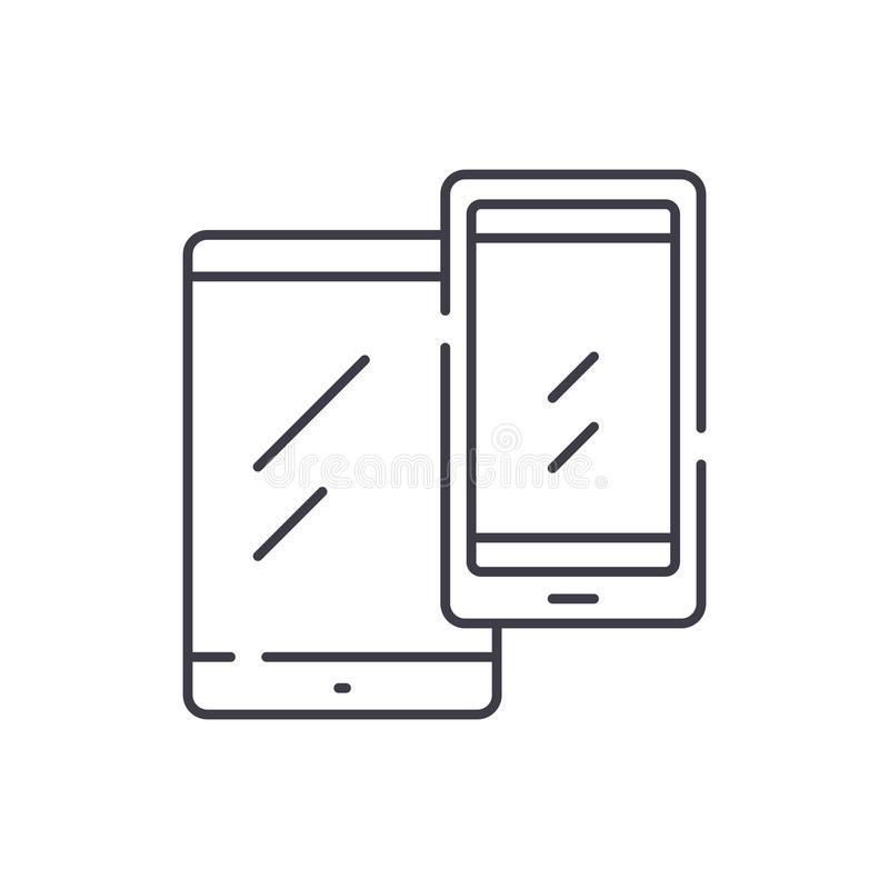 移动设备排行象概念 移动设备导航线性例证,标志,标志 库存例证