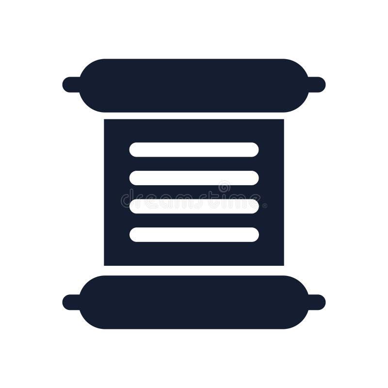 移动象在白色背景和标志隔绝的传染媒介标志,纸卷商标概念 向量例证