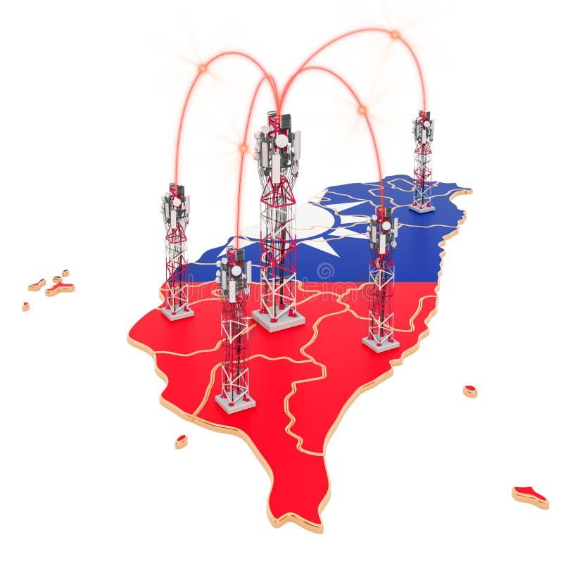 移动通信在台湾,在地图的细胞塔 3d?? 库存例证