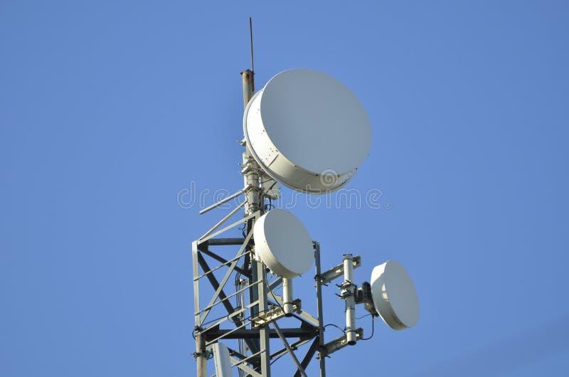 移动通信的微波天线 免版税库存图片