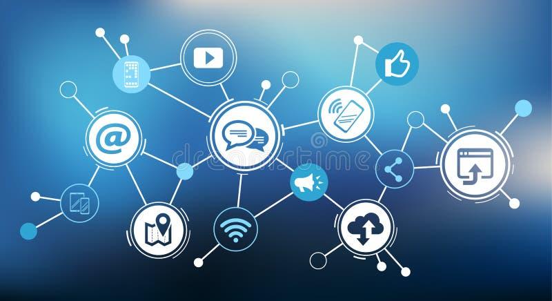 移动通信/社会媒介营销挑战设计-传染媒介例证 向量例证