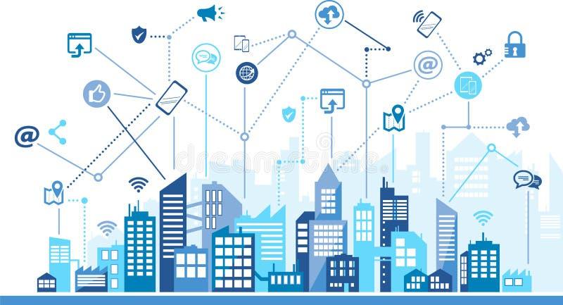 移动通信/社会媒介/数字化在城市,都市背景–传染媒介例证 向量例证