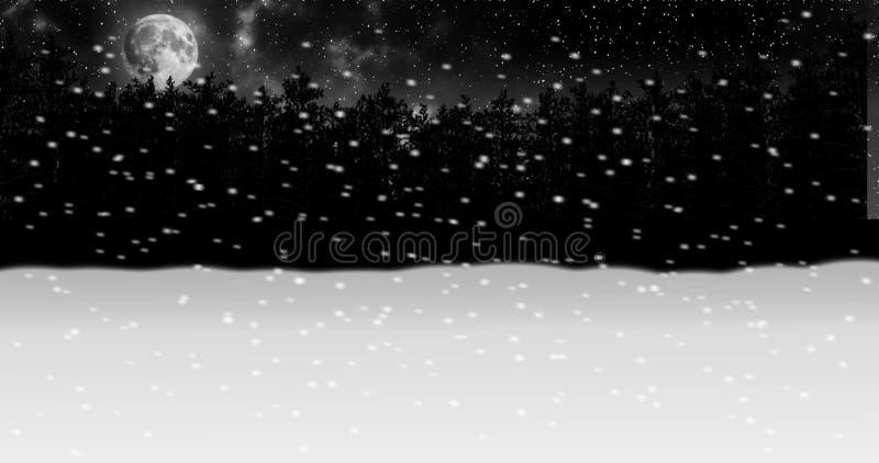 移动通过夜冬天雪森林动画 向量例证