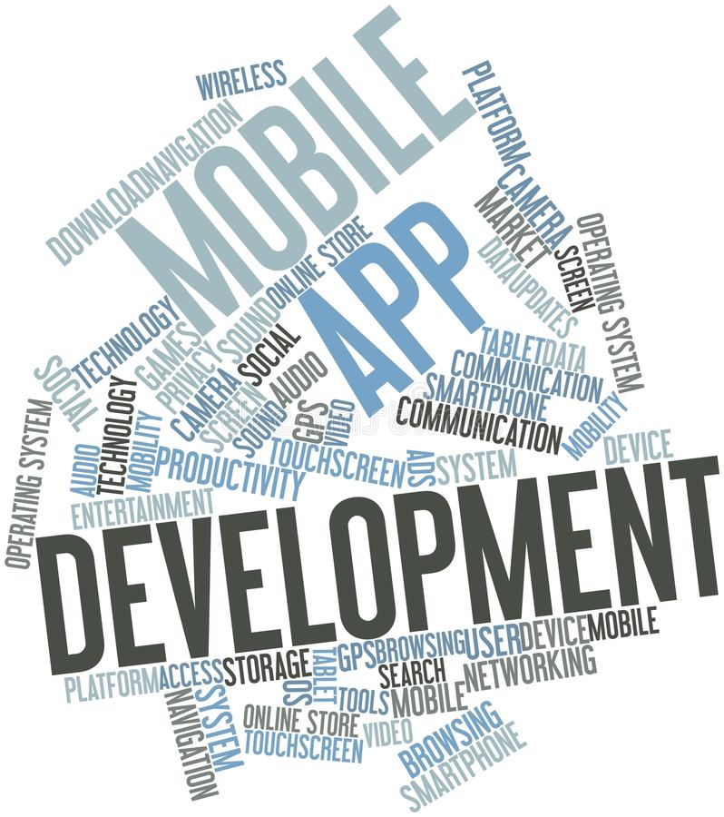移动app发展的字云彩 皇族释放例证
