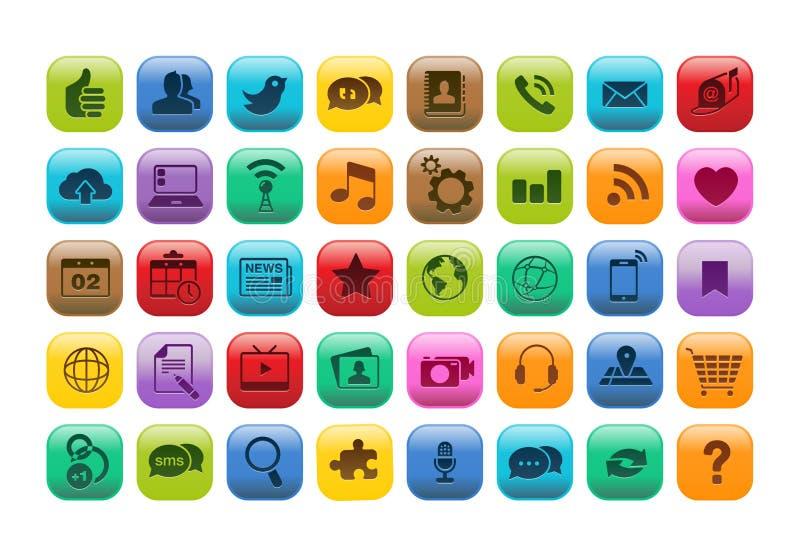 移动App按钮图标集 皇族释放例证