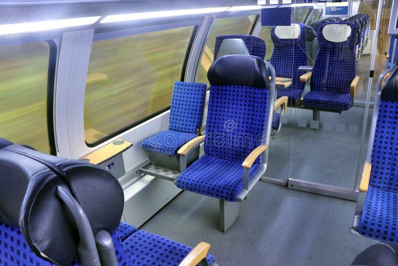 移动DB城市间的火车内部  德国,萨克森 免版税库存照片