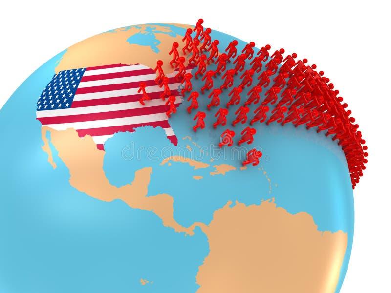 移民向美国 向量例证