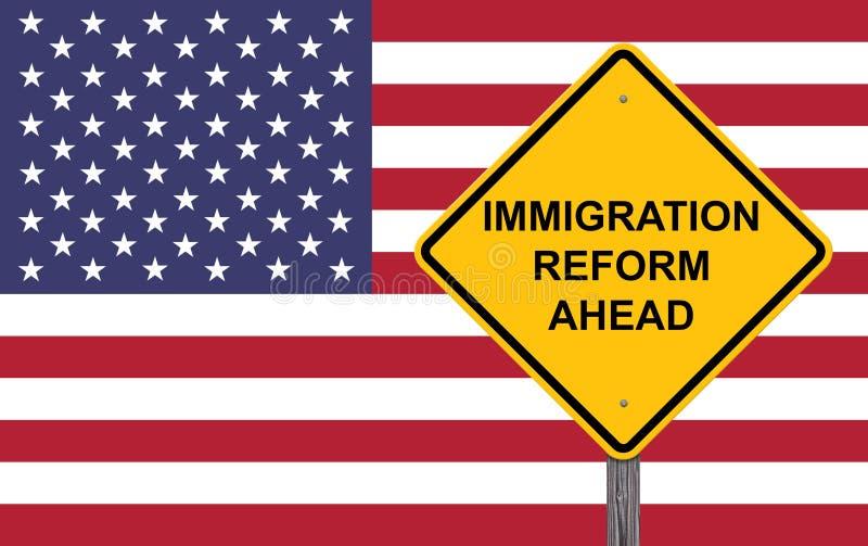 移民改革前面小心标志 免版税图库摄影