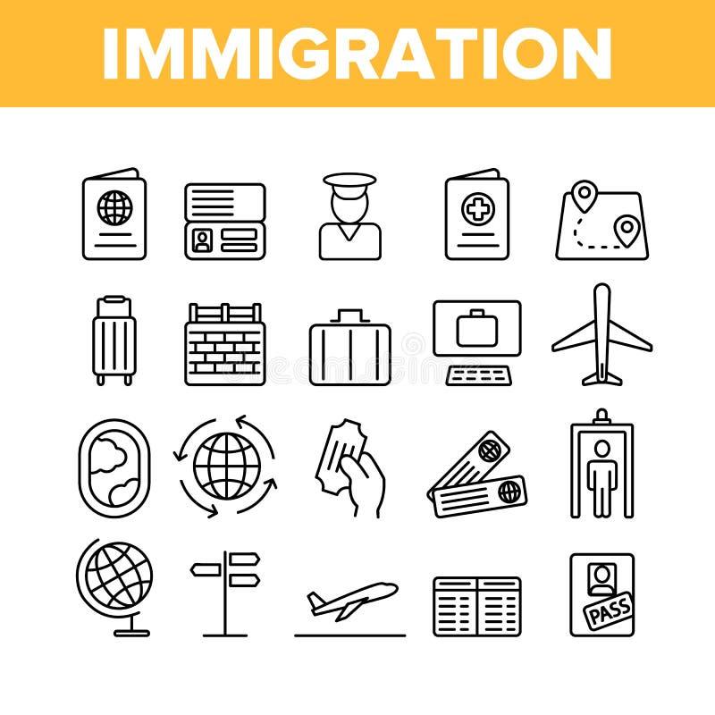 移民,海外旅行传染媒介线性象集合 向量例证