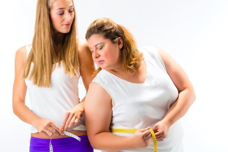 稀薄和肥胖有磁带的妇女测量的腰部 免版税库存图片