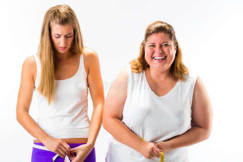 稀薄和肥胖有磁带的妇女测量的腰部 库存图片
