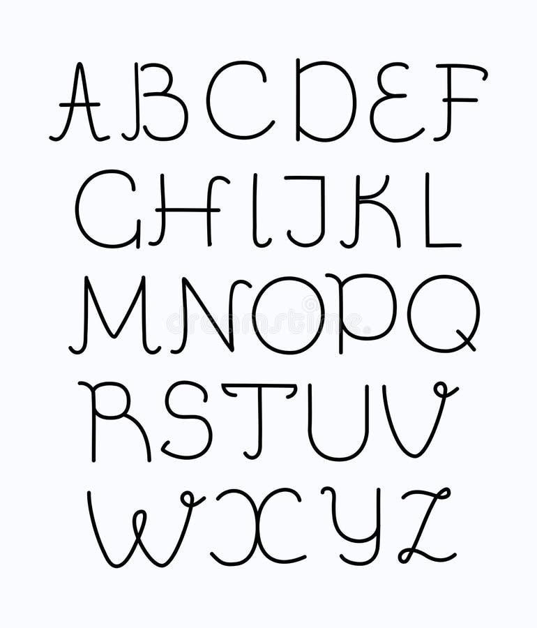 稀薄的与长的阴影的线型现代字体 向量例证