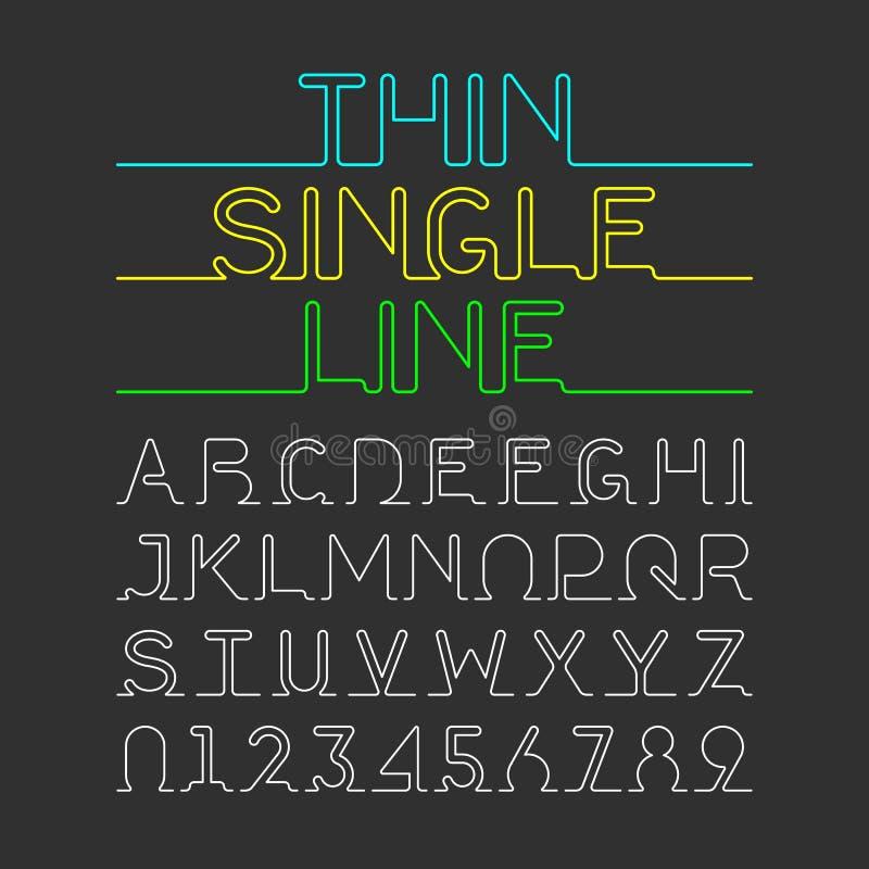 稀薄的个别线路字体 向量例证