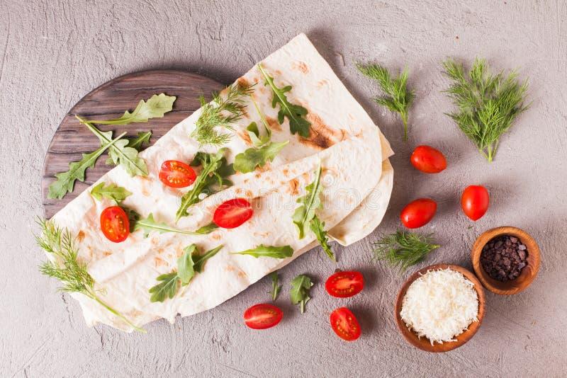 稀薄的亚美尼亚皮塔饼面包 库存照片
