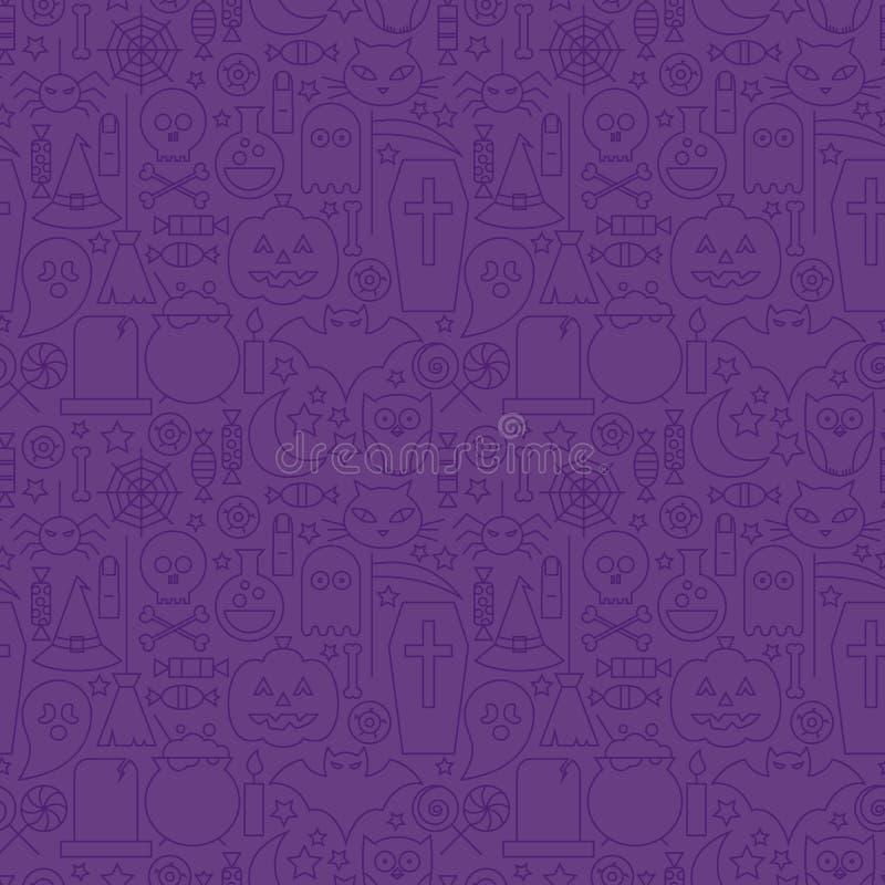 稀薄的假日线万圣夜紫色无缝的样式 皇族释放例证