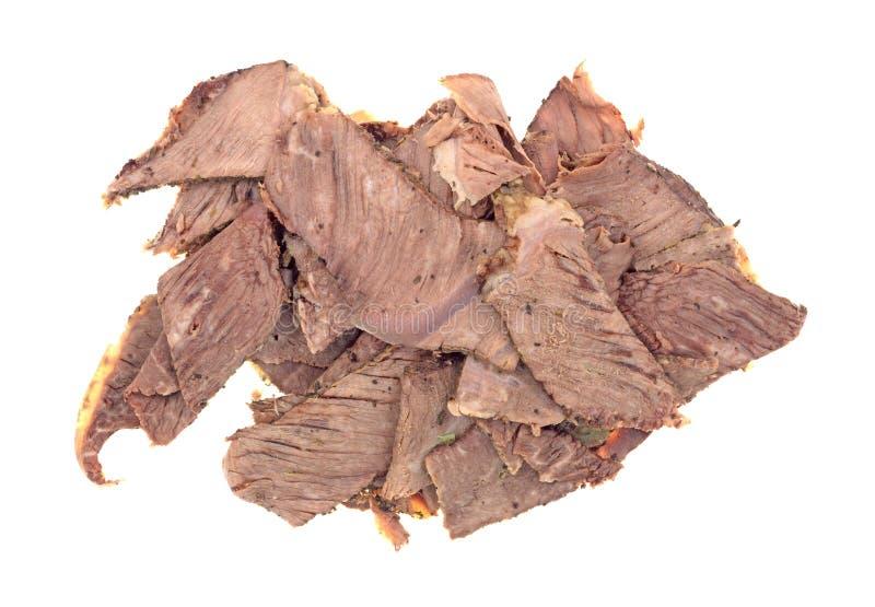 稀薄的切的牛颈肉烘烤的部分 免版税库存图片