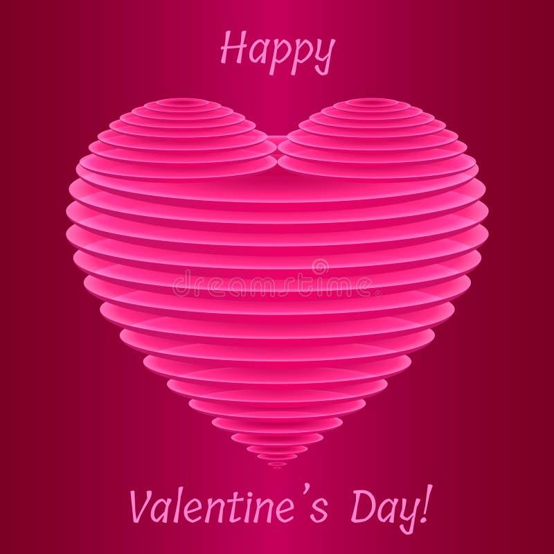 稀薄的半透明的卵形板材时髦的华伦泰` s 3D桃红色心脏形状  皇族释放例证