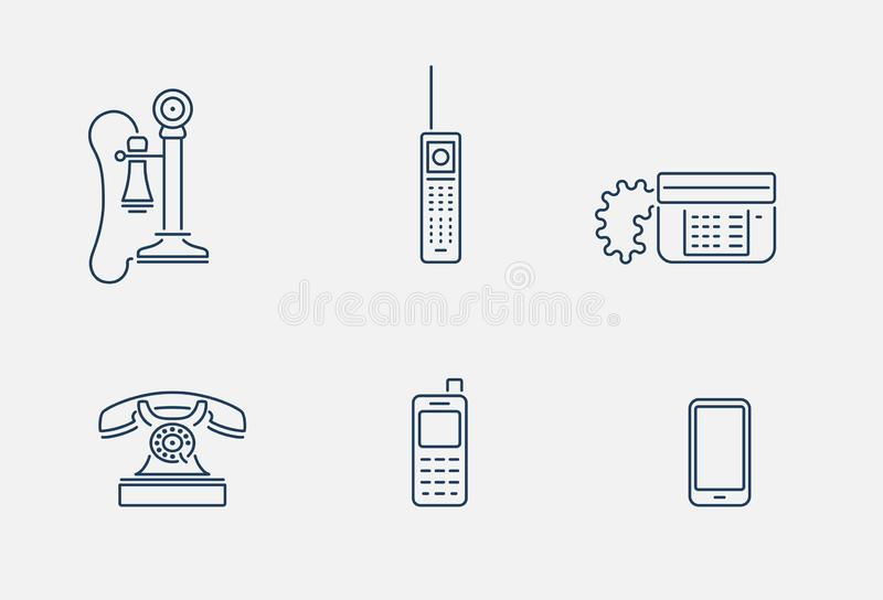 稀薄的概述电话象 库存例证