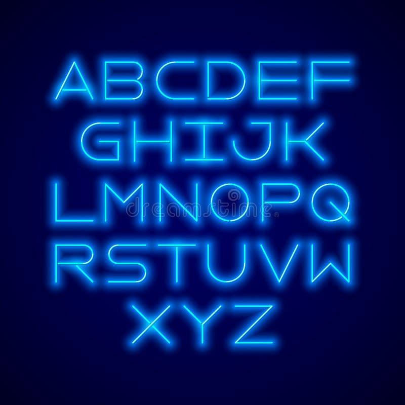 稀薄的氖灯现代字体 向量例证
