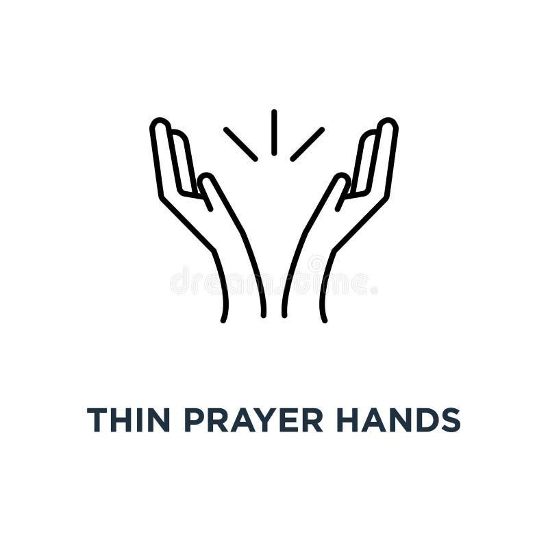 稀薄的祷告手或掌声象,在拍手的白色概念的标志等高样式最小的略写法图表冲程艺术设计 向量例证