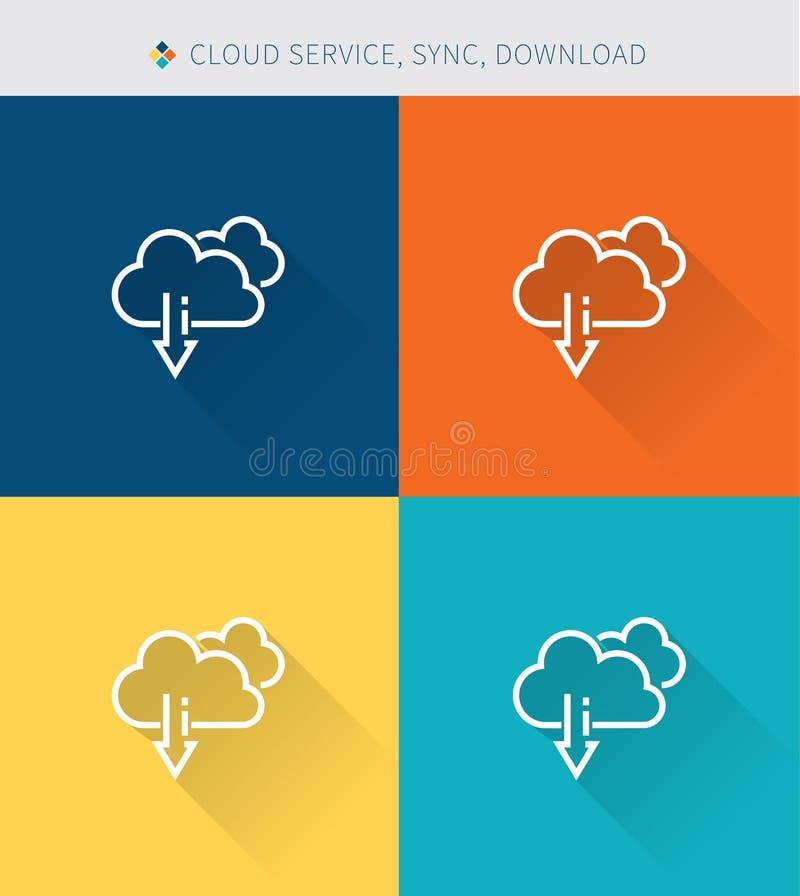 稀薄的稀薄的线象设置了下载和云彩服务,现代简单的样式 库存例证