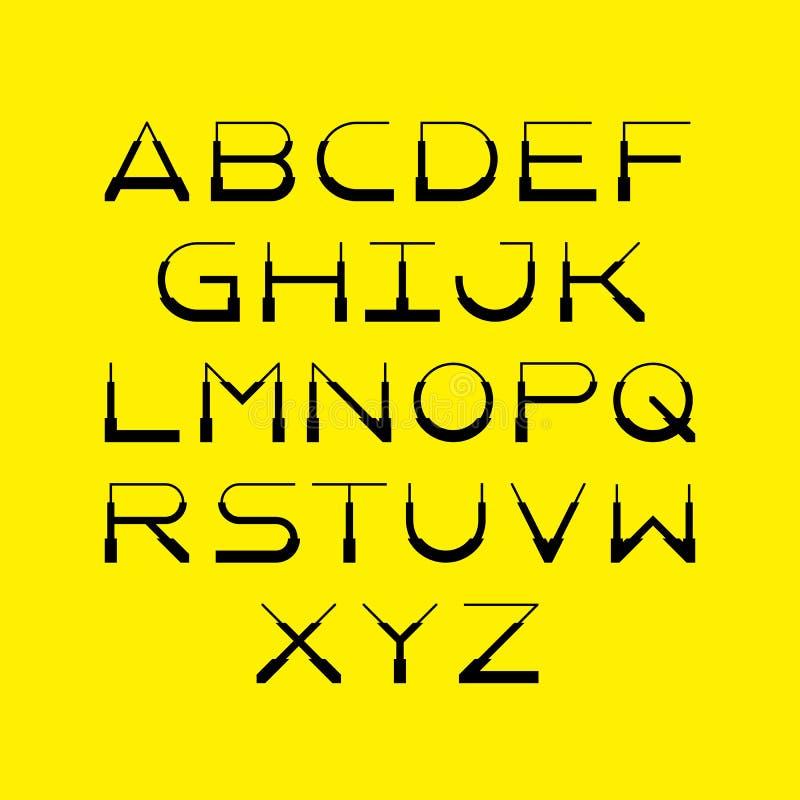 稀薄的简单的现代字体 库存例证