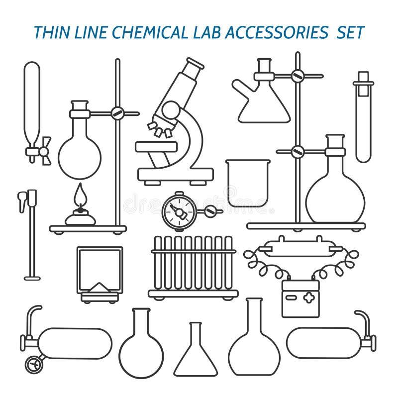 稀薄的线化工实验室设备 向量例证