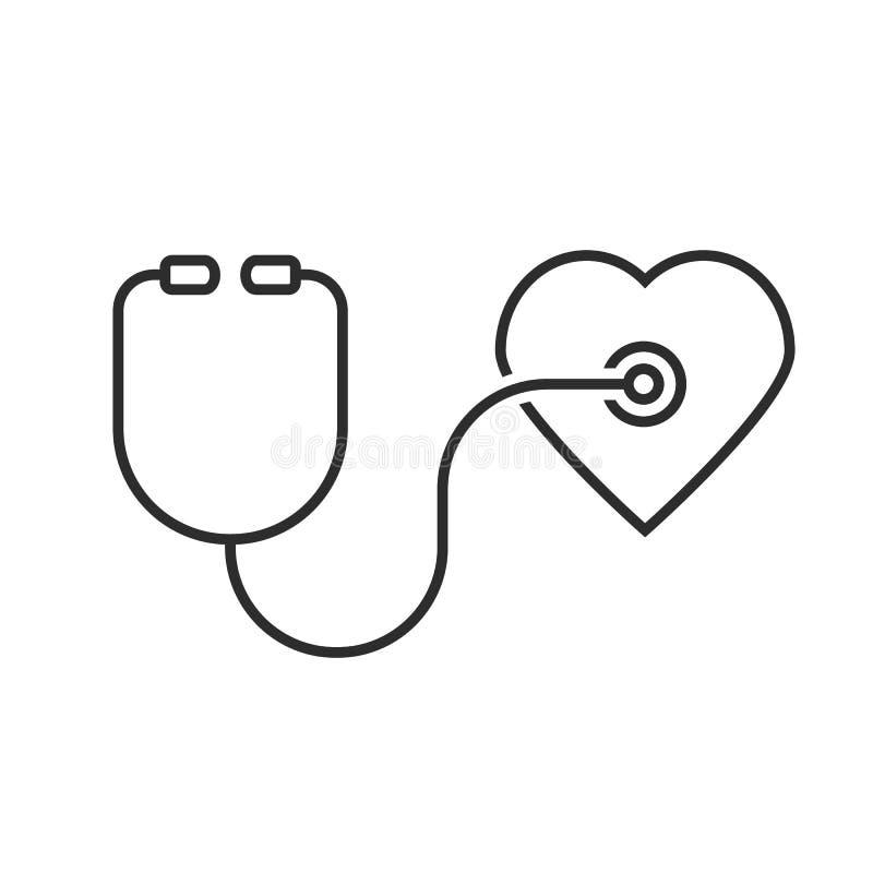稀薄的线听诊器心脏图片