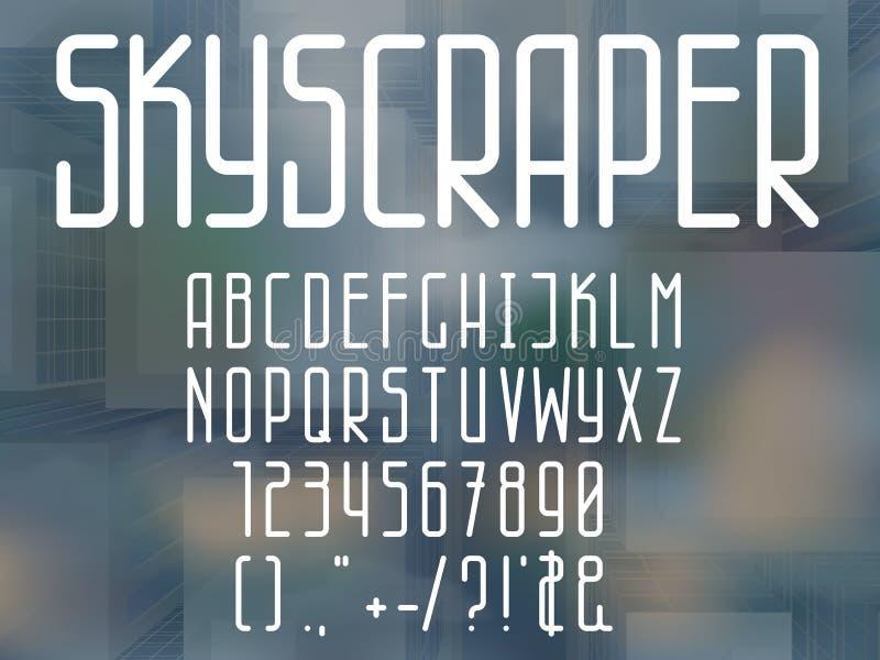 稀薄的线型字体 库存例证
