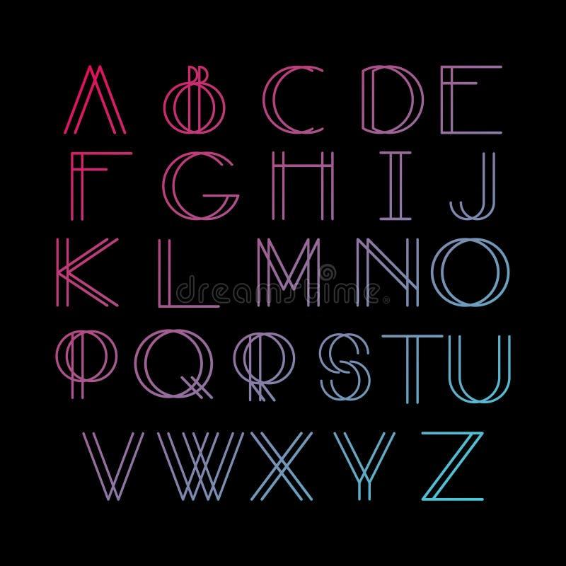稀薄的线型,线性现代字体,在minimalistic样式做的字体 向量例证