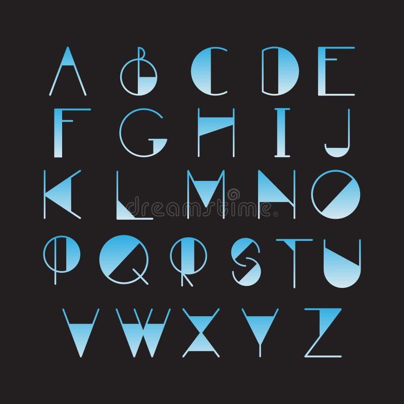 稀薄的线型,线性现代字体, 向量例证