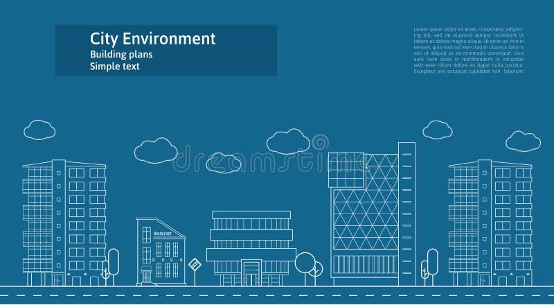 稀薄的线城市风景概念例证 一个大城市的看法 平的设计摘要传染媒介背景 向量例证