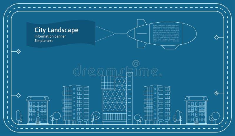 稀薄的线城市风景概念例证 一个大城市的看法 平的设计摘要传染媒介背景 库存例证
