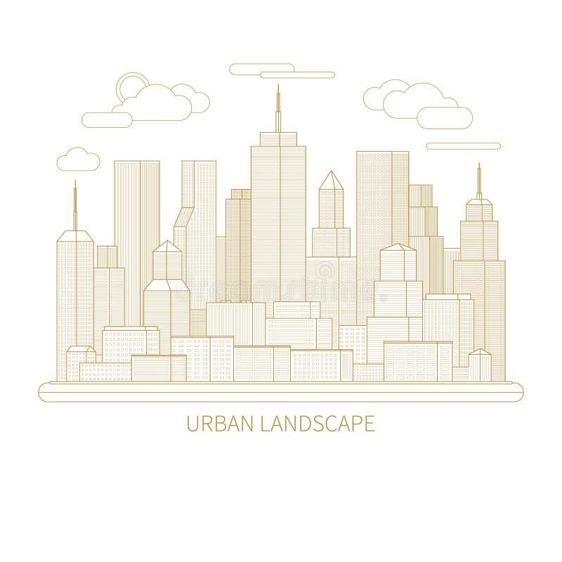稀薄的线城市风景概念例证 向量例证