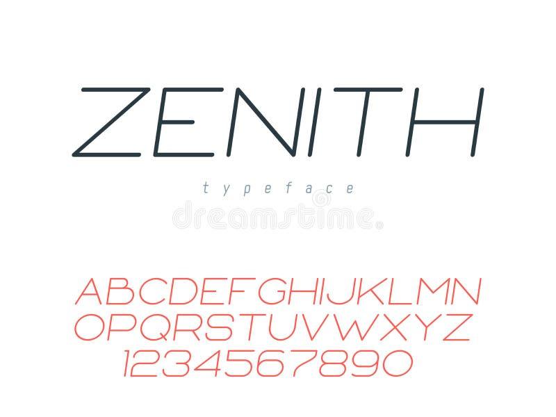稀薄的线大写字体 拉丁字母信件和数字 r 库存例证