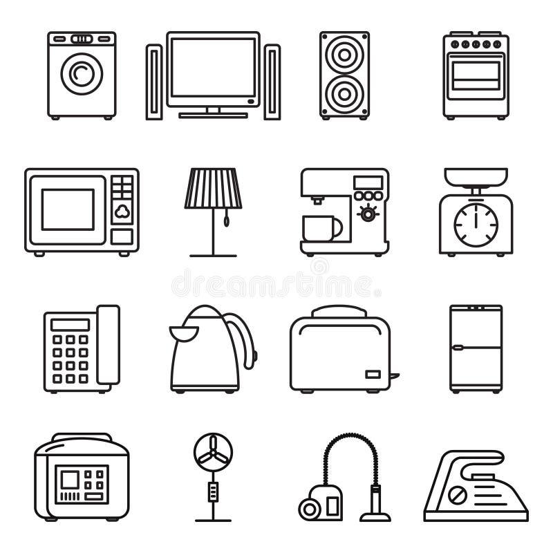 稀薄的线家电象,家庭概述 冲程传染媒介标志 皇族释放例证