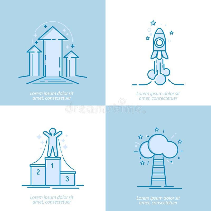 稀薄的线成功的,奖,成就,顶面成功概念,竞争奖励,传染媒介的元素设计观念 库存例证