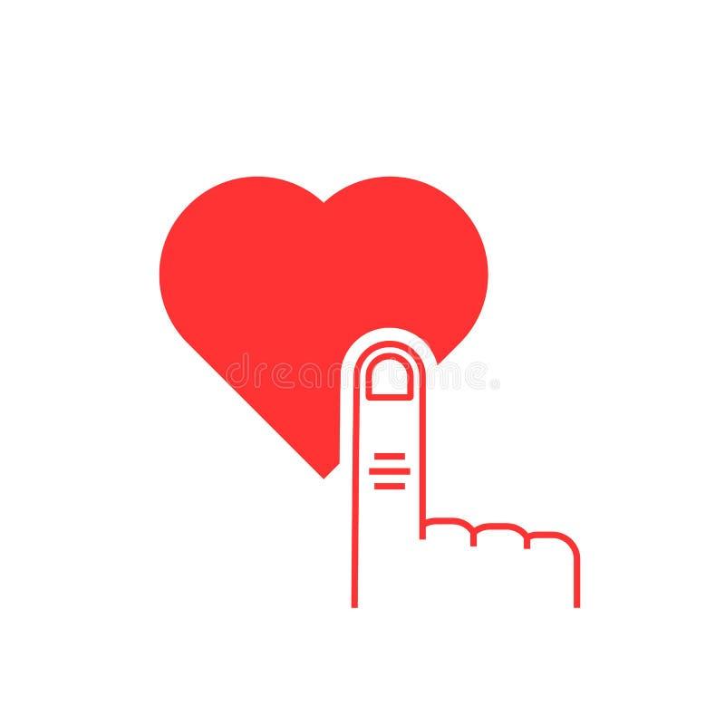 稀薄的线手指在红色心脏按钮按.