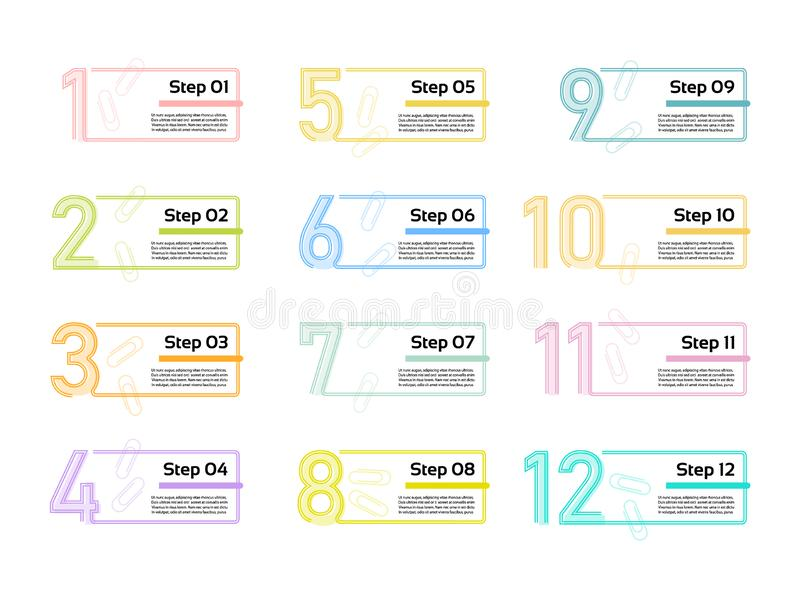 稀薄的线最小的Infographic设计模板 12个选择,步 能为处理图,介绍,工作流布局使用 库存例证