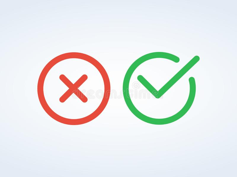 稀薄的线校验标志象 绿色壁虱和红十字检查号平的线被设置的象 库存例证