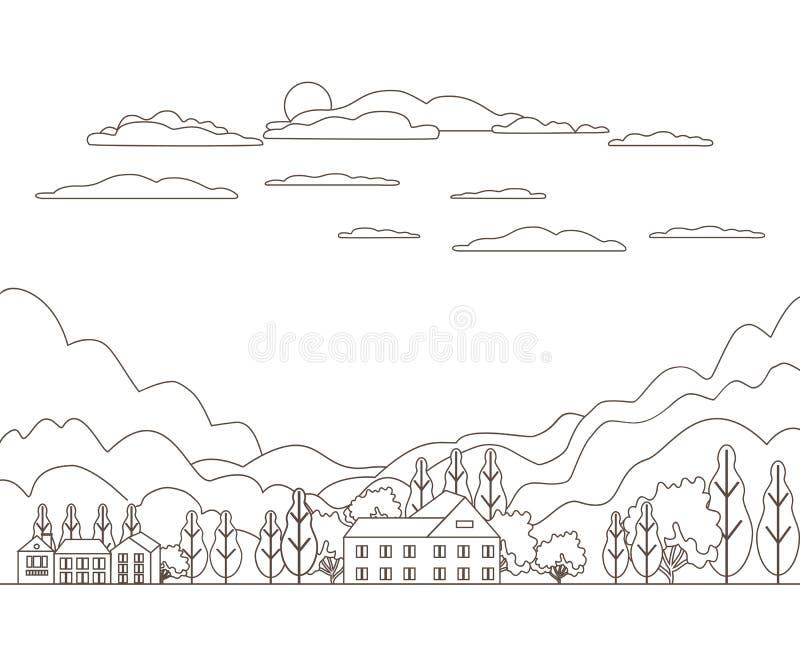 稀薄的线概述风景农村农场 全景室外设计村庄现代与山、小山、树、天空、云彩和太阳 线路 向量例证