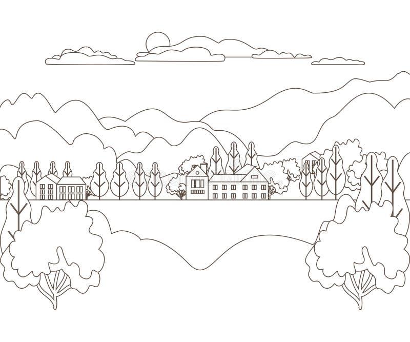 稀薄的线概述风景农村农场 全景室外设计村庄现代与山、小山、树、天空、云彩和太阳 线路 皇族释放例证
