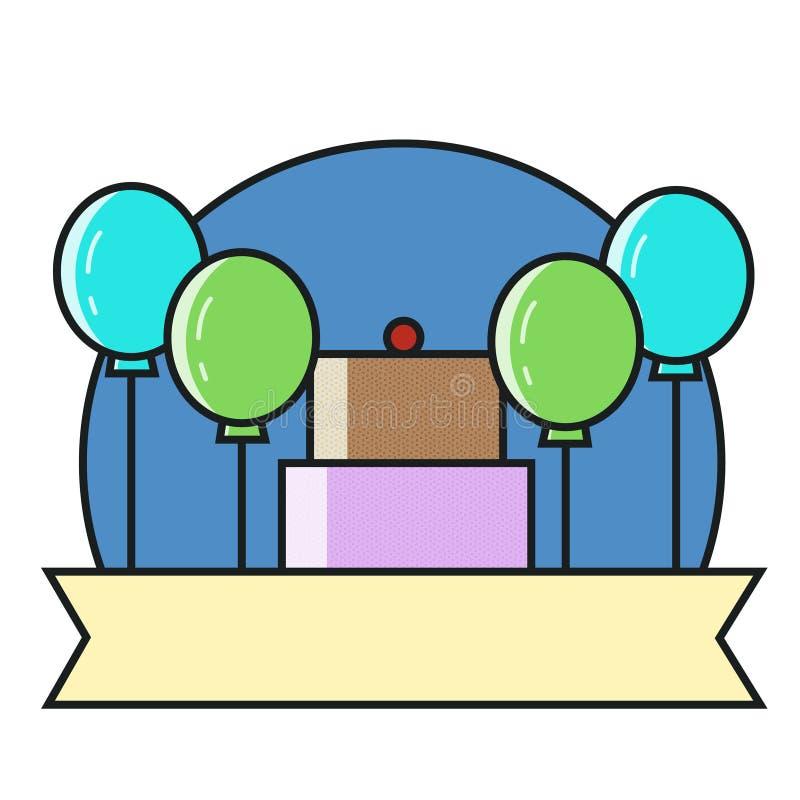 稀薄的线特殊事件的时刻和生日聚会组织,承办的服务局象  平的设计图表 库存例证