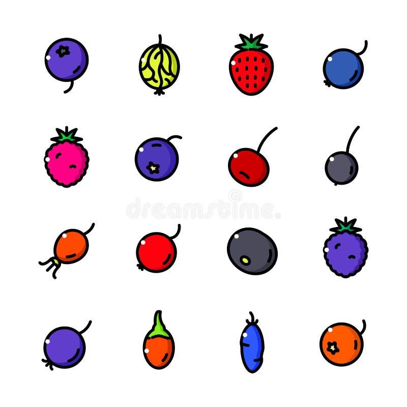 稀薄的线莓果象设置了,导航例证 皇族释放例证